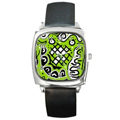 Green high art abstraction Square Metal Watch