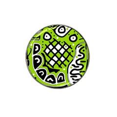Green high art abstraction Hat Clip Ball Marker