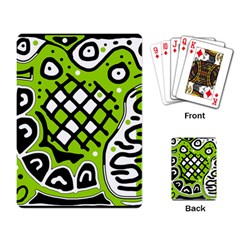 Green high art abstraction Playing Card