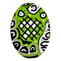 Green high art abstraction Oval Ornament (Two Sides)