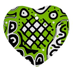 Green high art abstraction Heart Ornament (2 Sides)
