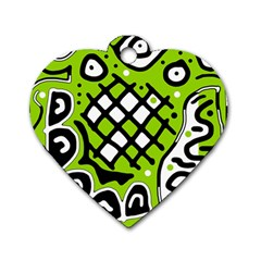 Green high art abstraction Dog Tag Heart (One Side)