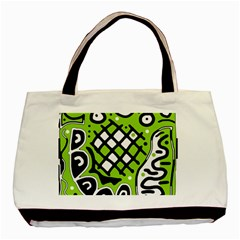 Green high art abstraction Basic Tote Bag (Two Sides)