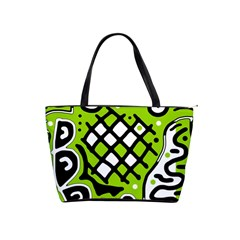 Green high art abstraction Shoulder Handbags