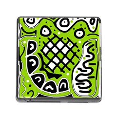 Green high art abstraction Memory Card Reader (Square)