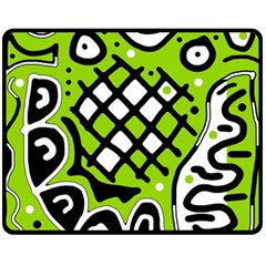 Green high art abstraction Fleece Blanket (Medium)
