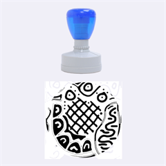 Green high art abstraction Rubber Round Stamps (Medium)