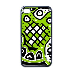 Green high art abstraction Apple iPhone 4 Case (Black)