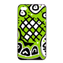 Green high art abstraction Apple iPhone 4/4s Seamless Case (Black)