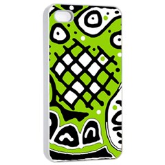 Green high art abstraction Apple iPhone 4/4s Seamless Case (White)