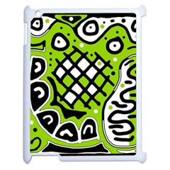 Green high art abstraction Apple iPad 2 Case (White)