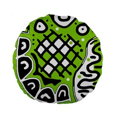 Green high art abstraction Standard 15  Premium Round Cushions