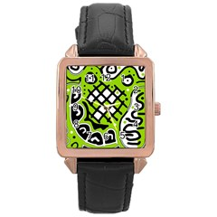Green high art abstraction Rose Gold Leather Watch