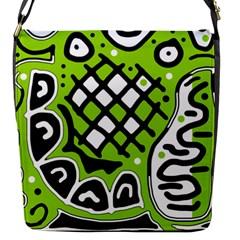 Green high art abstraction Flap Messenger Bag (S)