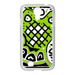 Green high art abstraction Samsung GALAXY S4 I9500/ I9505 Case (White)