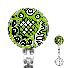 Green high art abstraction Stainless Steel Nurses Watch