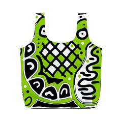 Green high art abstraction Full Print Recycle Bags (M)