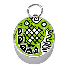 Green high art abstraction Mini Silver Compasses