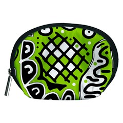 Green high art abstraction Accessory Pouches (Medium)