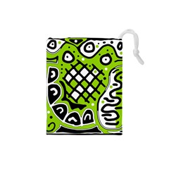 Green high art abstraction Drawstring Pouches (Small)