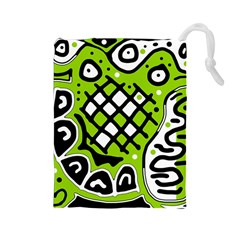 Green high art abstraction Drawstring Pouches (Large)