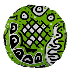 Green high art abstraction Large 18  Premium Flano Round Cushions
