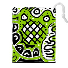 Green high art abstraction Drawstring Pouches (XXL)
