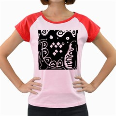 Black and white high art abstraction Women s Cap Sleeve T-Shirt