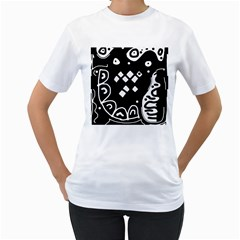 Black and white high art abstraction Women s T-Shirt (White) (Two Sided)