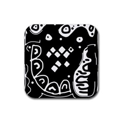 Black and white high art abstraction Rubber Coaster (Square)