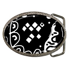 Black and white high art abstraction Belt Buckles