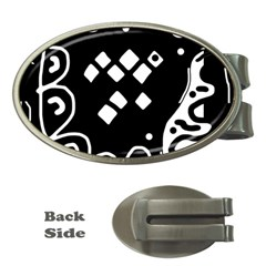 Black and white high art abstraction Money Clips (Oval)