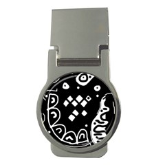 Black and white high art abstraction Money Clips (Round)