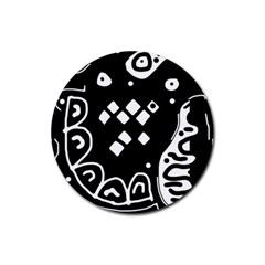 Black and white high art abstraction Rubber Round Coaster (4 pack)