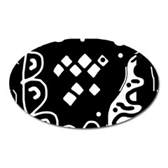 Black and white high art abstraction Oval Magnet