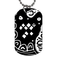 Black and white high art abstraction Dog Tag (One Side)
