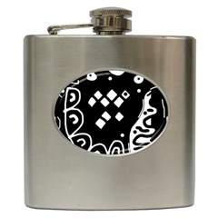 Black and white high art abstraction Hip Flask (6 oz)