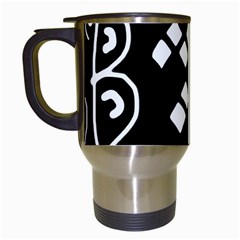 Black and white high art abstraction Travel Mugs (White)