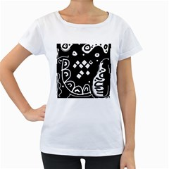 Black and white high art abstraction Women s Loose-Fit T-Shirt (White)