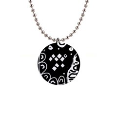 Black and white high art abstraction Button Necklaces
