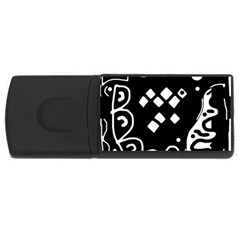 Black and white high art abstraction USB Flash Drive Rectangular (4 GB)