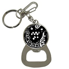 Black and white high art abstraction Bottle Opener Key Chains