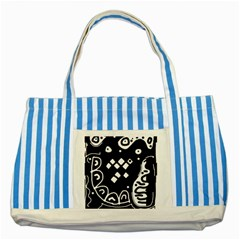 Black and white high art abstraction Striped Blue Tote Bag