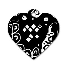 Black and white high art abstraction Dog Tag Heart (Two Sides)