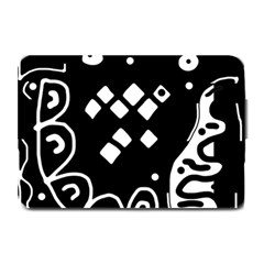 Black and white high art abstraction Plate Mats