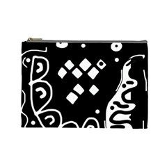 Black and white high art abstraction Cosmetic Bag (Large)