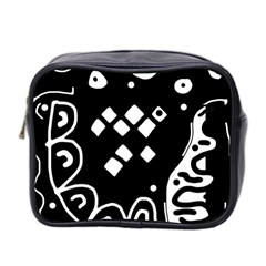 Black and white high art abstraction Mini Toiletries Bag 2-Side