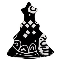 Black and white high art abstraction Ornament (Christmas Tree)