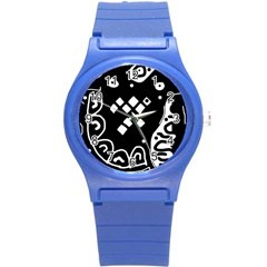 Black and white high art abstraction Round Plastic Sport Watch (S)