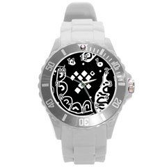 Black and white high art abstraction Round Plastic Sport Watch (L)